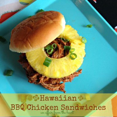 Hawaiian BBQ Chicken Sandwiches {in the crock pot}