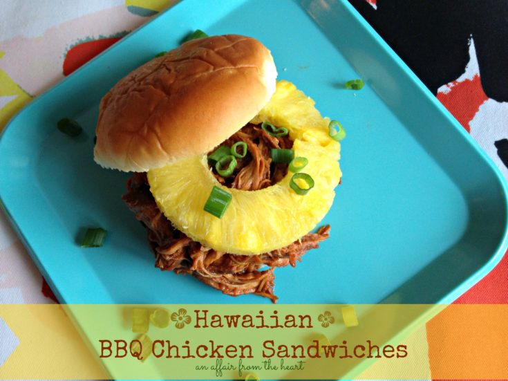 hawaiian bbq chicken sandwich on a blue plate