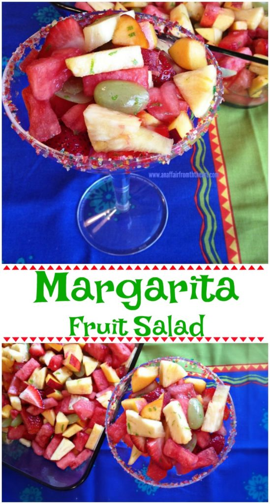 Margarita Lime dressing over fresh fruit of your choice makes this tangy and refreshing fruit salad that has a gorgeous presentation!