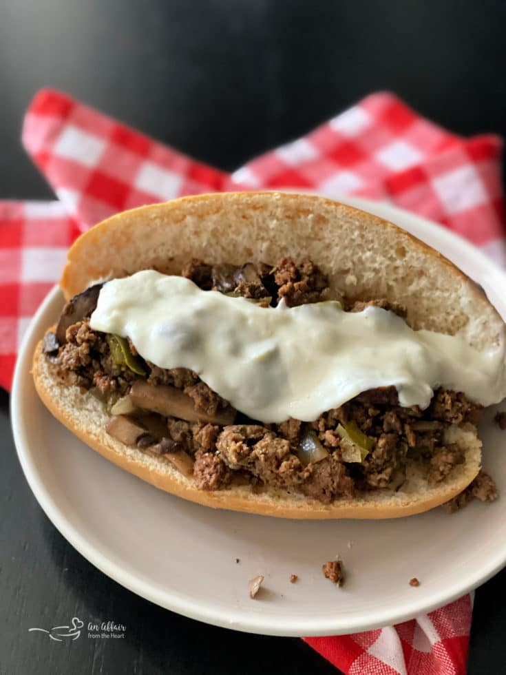Overhead of Philly Cheese Steak Sloppy Joe's on a white plate
