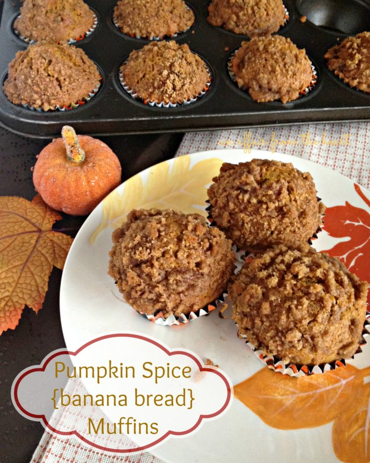 pumpkin spice banana bread muffins in a muffin tin and on a leaf plate