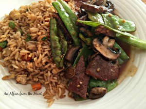 Asian Beef, Mushrooms and Snowpeas with Fried Rice