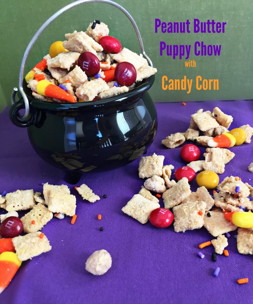 Peanut Butter Puppy Chow with candy corn