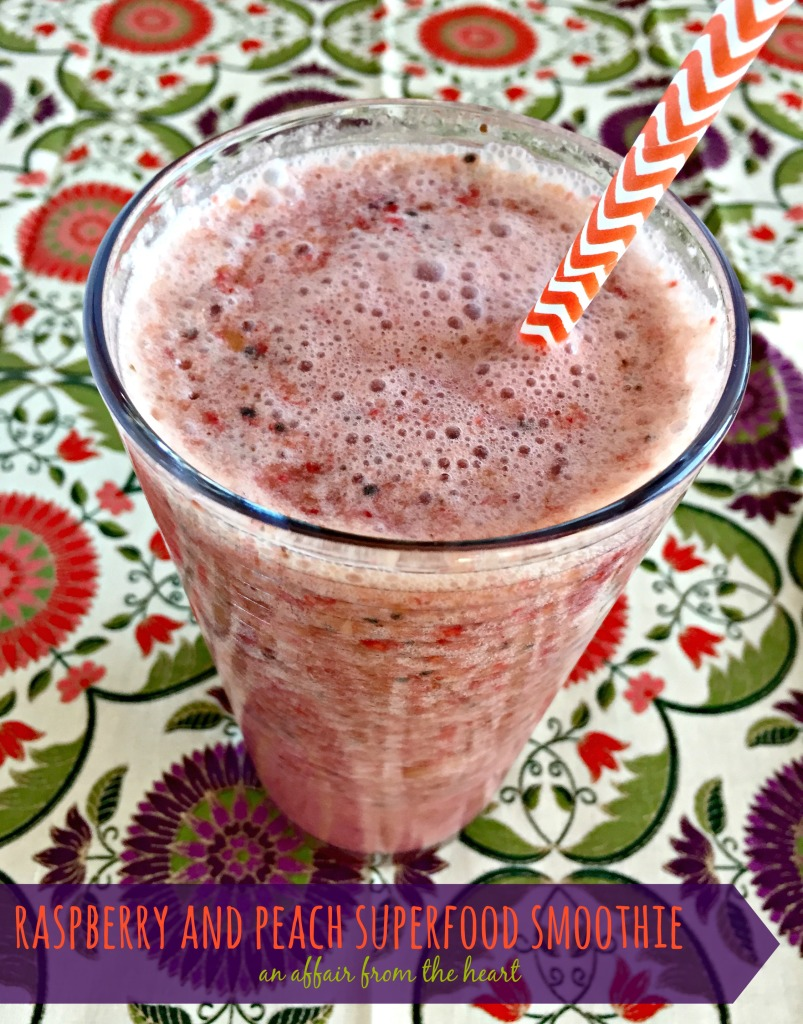 raspberry and peach superfood smoothie