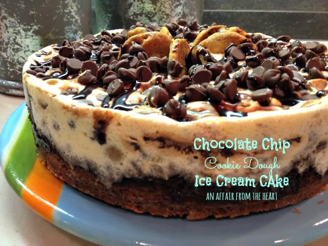 This Chocolate Chip Cookie Dough Ice Cream Cake was make with a cookie ...