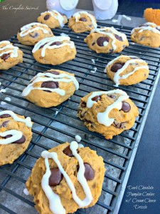 Dark Chocolate Chip Pumpkin Cookies with Cream Cheese Drizzle - The Complete Savorist