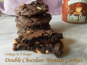 Double Chocolate Monster Cookies - Cooking On A Budget