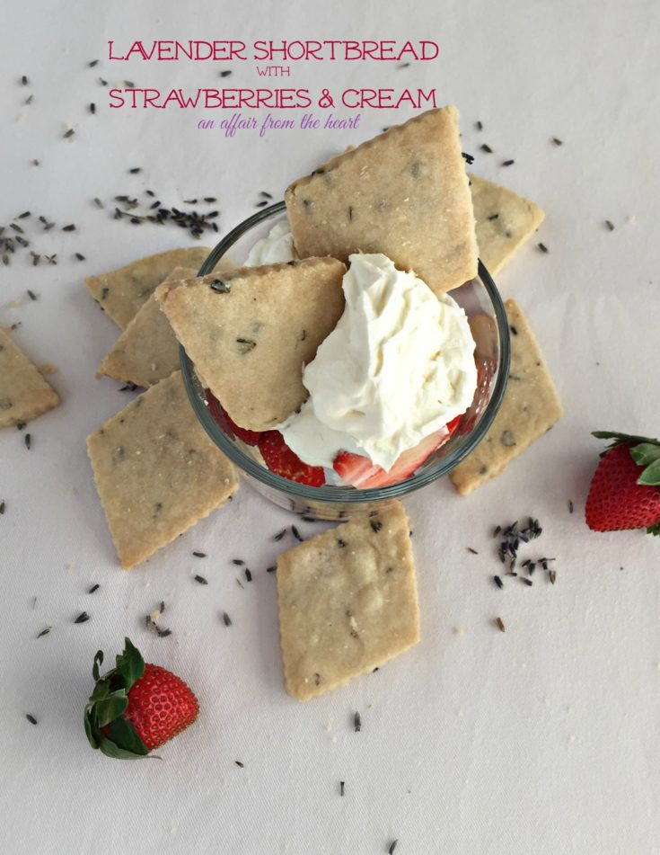Overhead of Lavender Shortbread with Strawberries & Cream