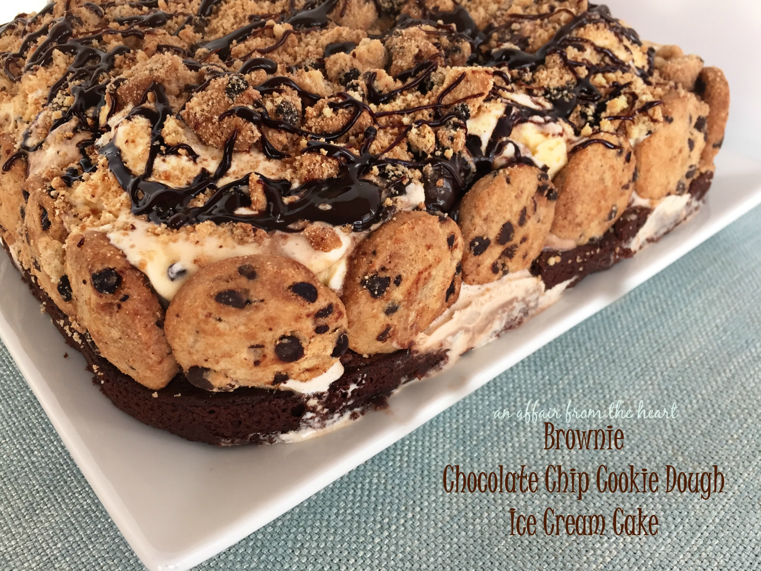 Chocolate Chip Cookie Brownie Ice Cream Cake
