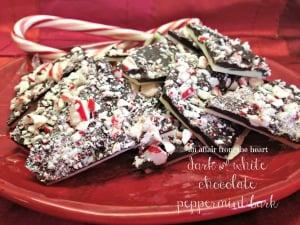 white and dark chocolate peppermint bark