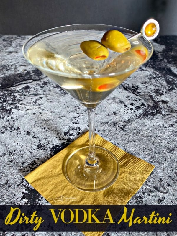 Dirty Vodka Martini with Spanish Olives