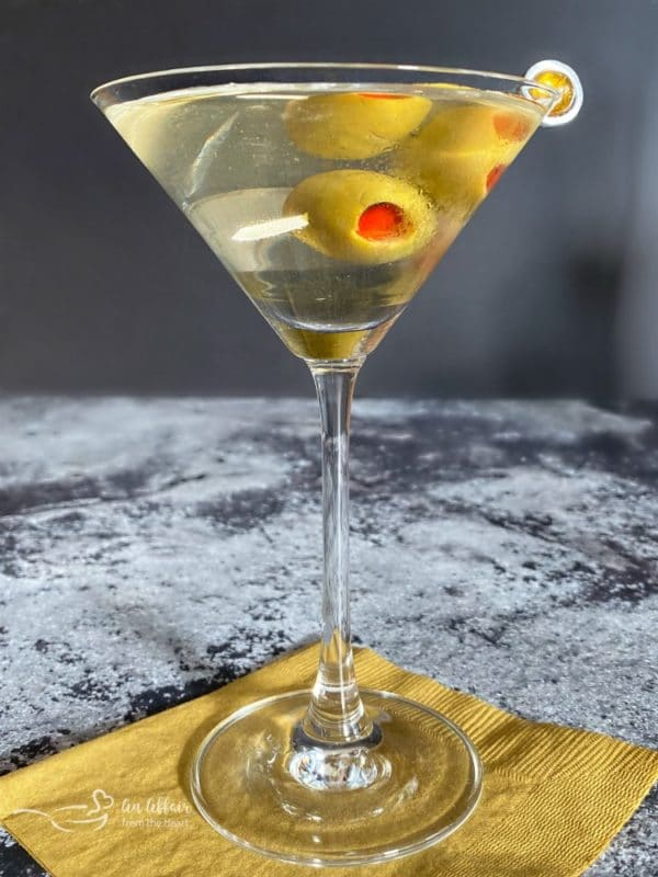 Dirty Vodka Martini with olives