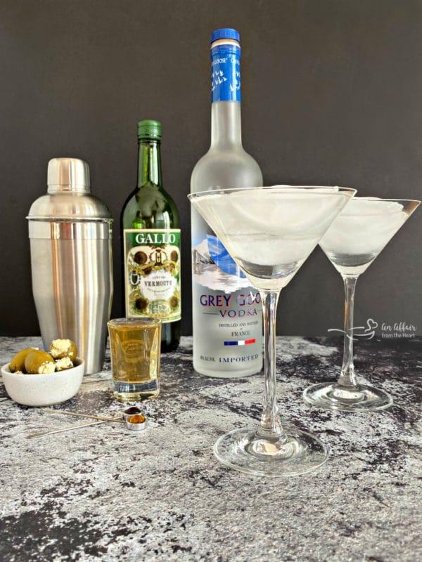 Grey Goose Dirty Martini preparation