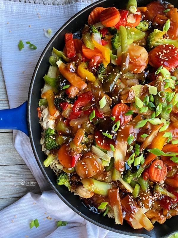 overhead of chicken teriyaki casserole in a pan