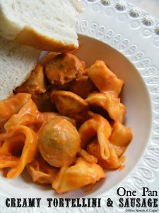 One Pan Creamy Tortellini and Sausage - Who Needs a Cape