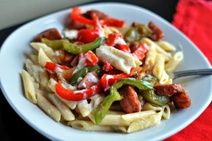 Smoked Sausage Penne Alfredo - Aunt Bee's Recipes