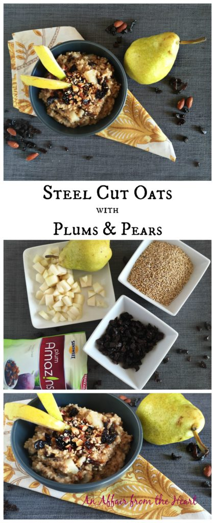 Steel Cut Oatmeal with Plum and Pears