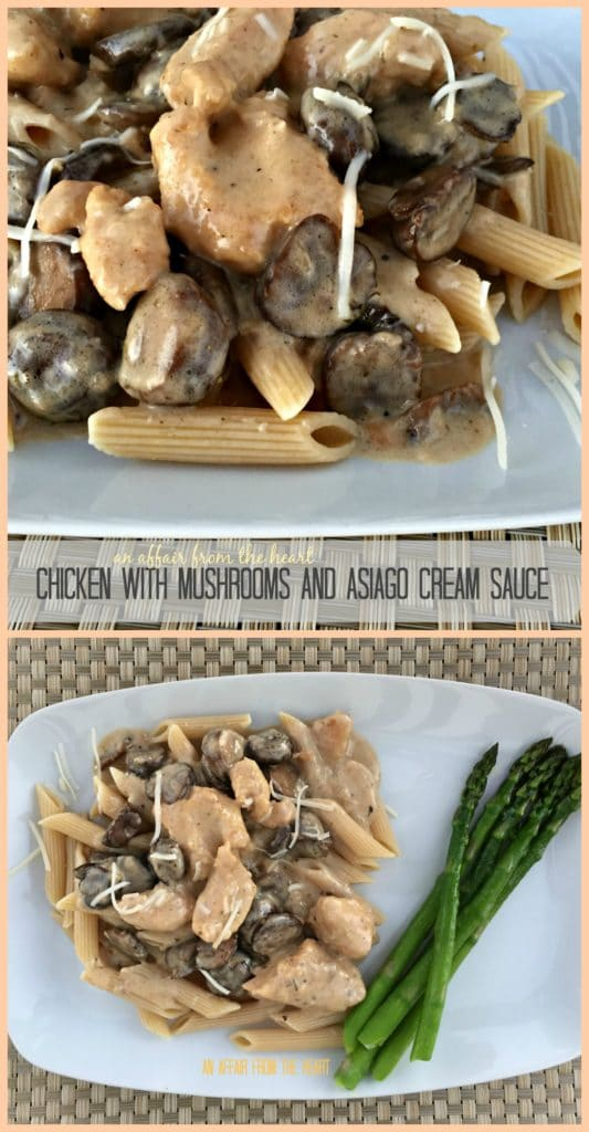 Chicken with Mushrooms and Asiago Cream Sauce