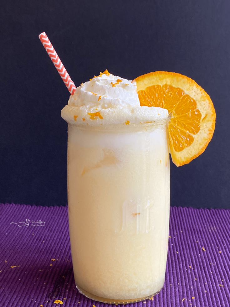 Grown Up Orange Julius purple background