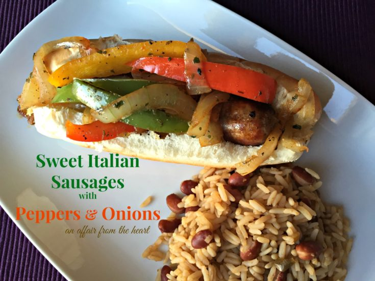 Overhead close up of sweet italian sausages with peppers and onions