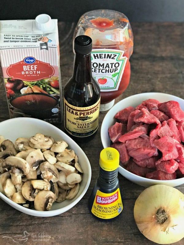 Beef Tips & Gravy ingredients prep