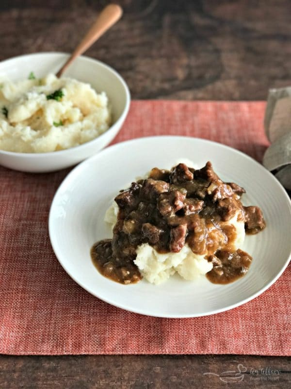 Beef Tips Gravy Served Over Mashed Potatoes Pure Comfort