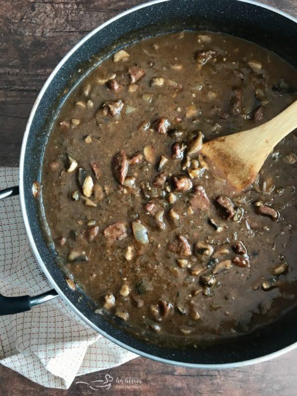 Beef Tips & Gravy prep with gravy