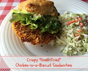 Crispy Oven Fried Chicken In A Biscuit Sandwiches