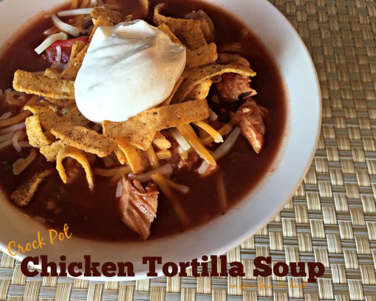 close up of Crock Pot Chicken Tortilla Soup in a white bowl
