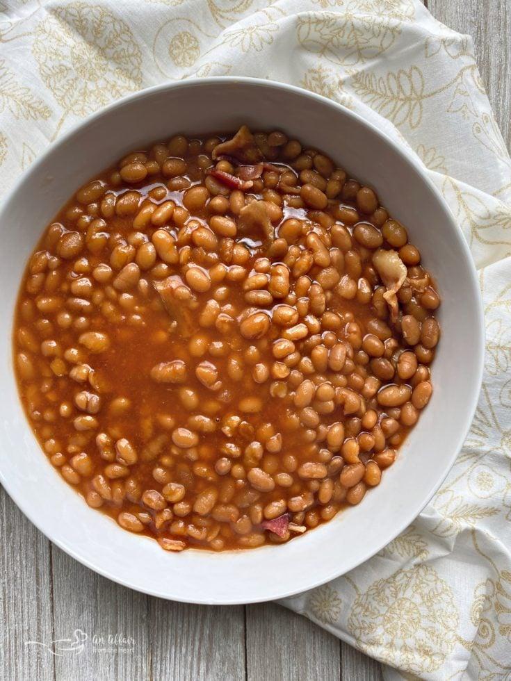 Grandma's Baked Beans (Pork n Beans) white bowl