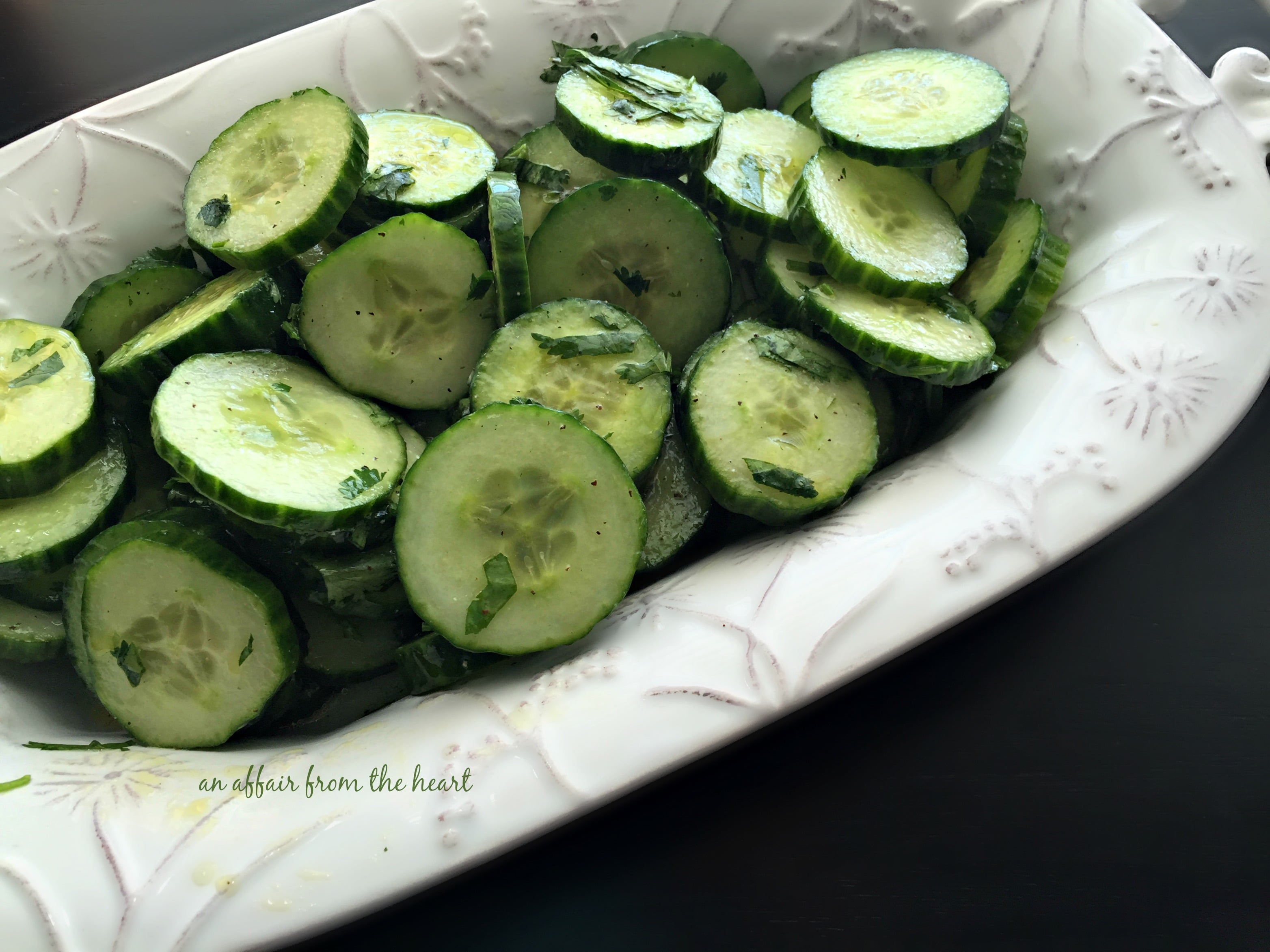 Blackened Shrimp & Crisp Chilled Cucumbers | An Affair from the Heart