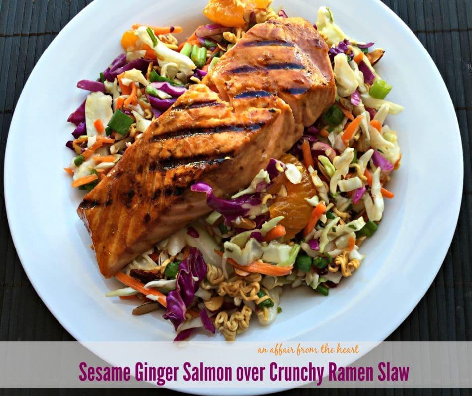 Sesame Ginger Salmon over Crunchy Ramen Slaw