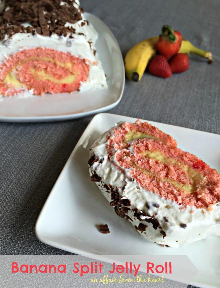 Banana Split Jelly Roll Cake