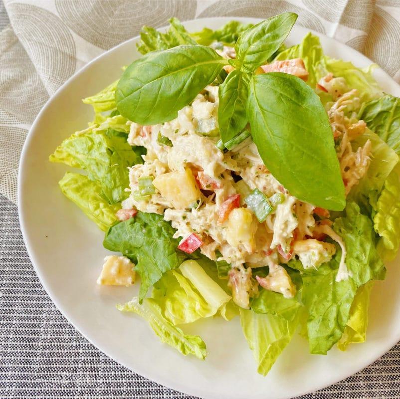 chicken salad on lettuce