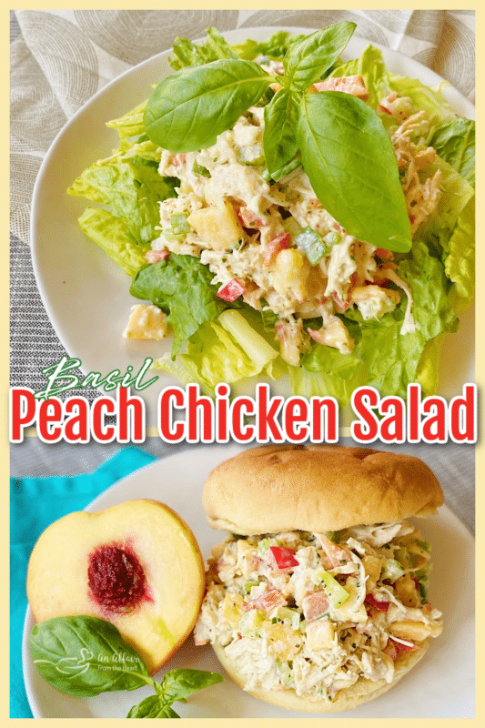 graphic for peach basil chicken salad