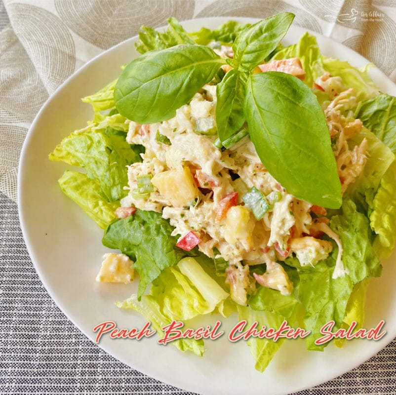 graphic for peach basil chicken salad on white plate