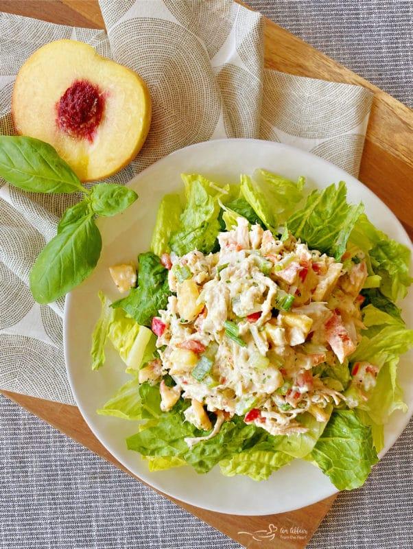 basil chicken salad on white plate