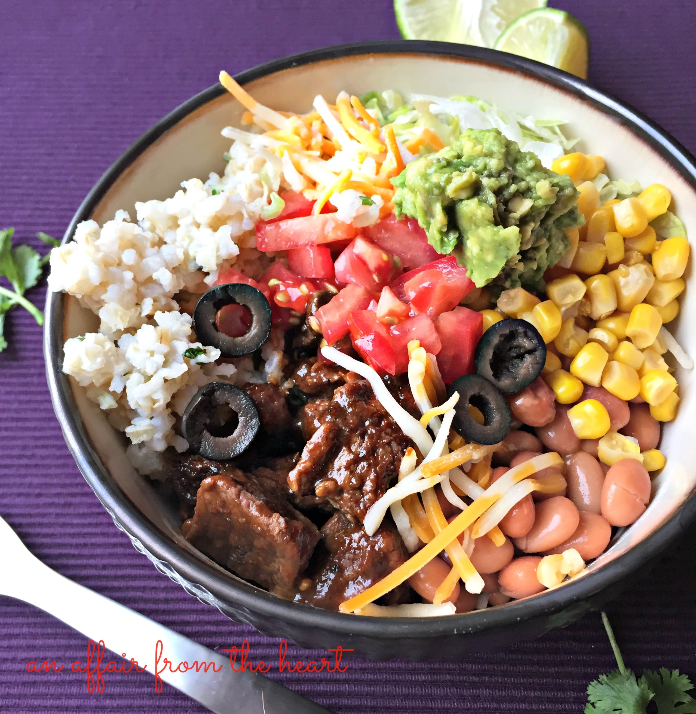rice, pinto beans, corn, avocado, lettuce, tomatoes, cheese and black ...