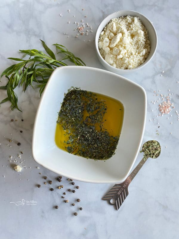 One bowl of vinegar with tarragon
