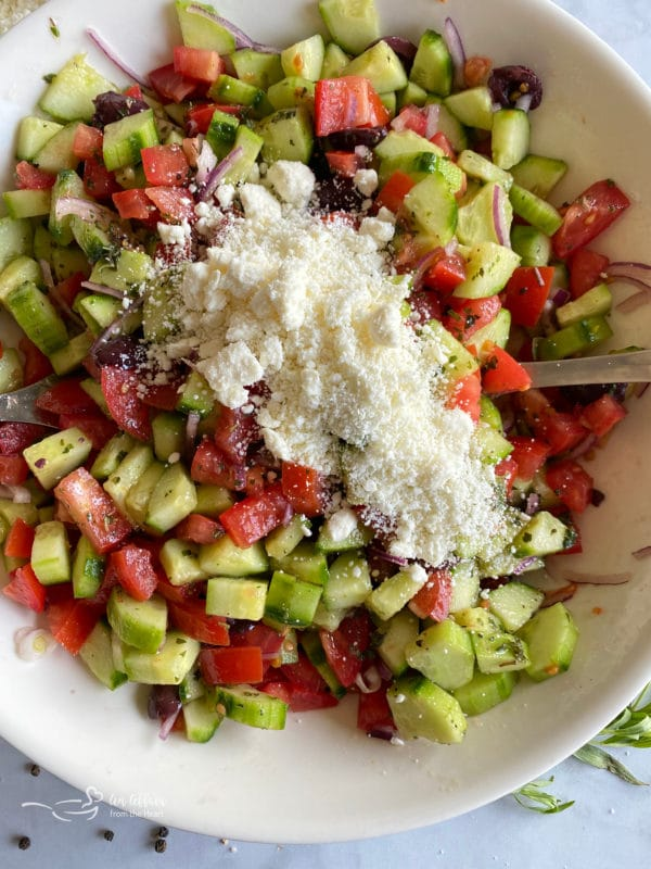 Cucumber salad with feta cheese
