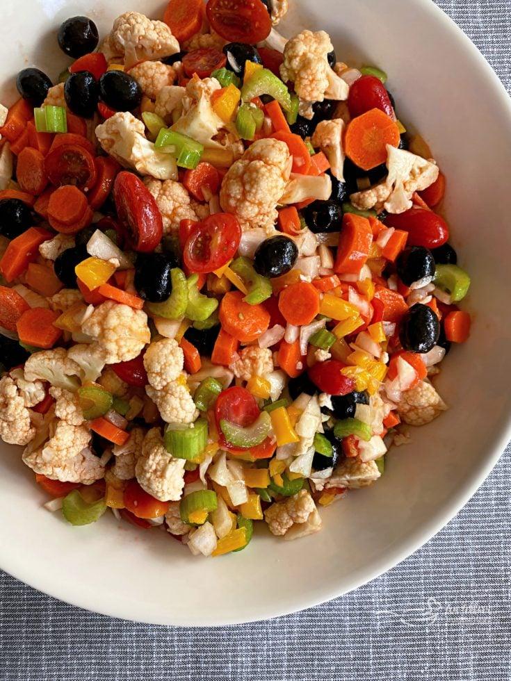 Mom's Marinated Vegetables white bowl