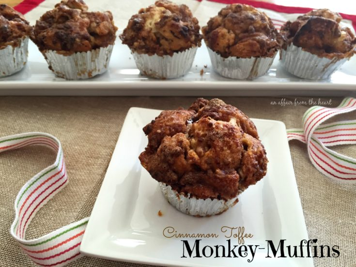 Cinnamon Toffee Monkey-Muffin on a white plate with the rest in the background