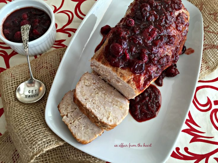overhead of Pork Tenderloin with Balsamic Cranberry Sauce