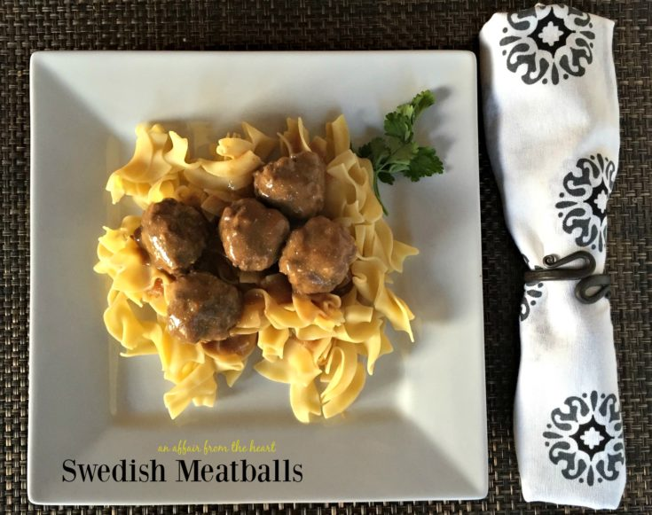 Overhead of Swedish Meatballs on a white plate