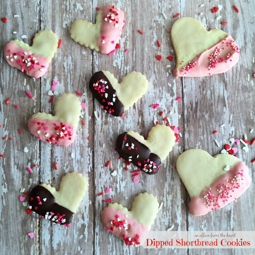 Valentine Dipped Shortbread Cookies