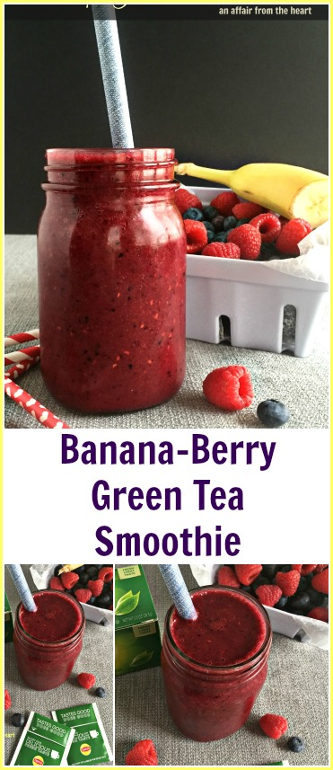 Banana Berry Green Tea Smoothie - An Affair from the Heart