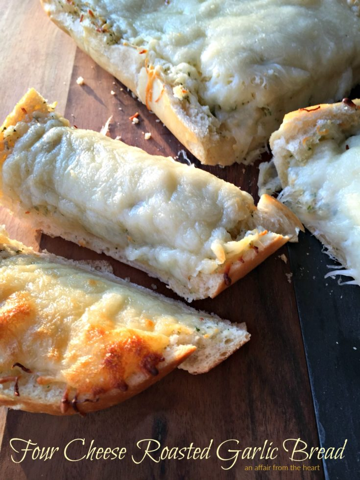 Close up of Four Cheese Roasted Garlic Bread