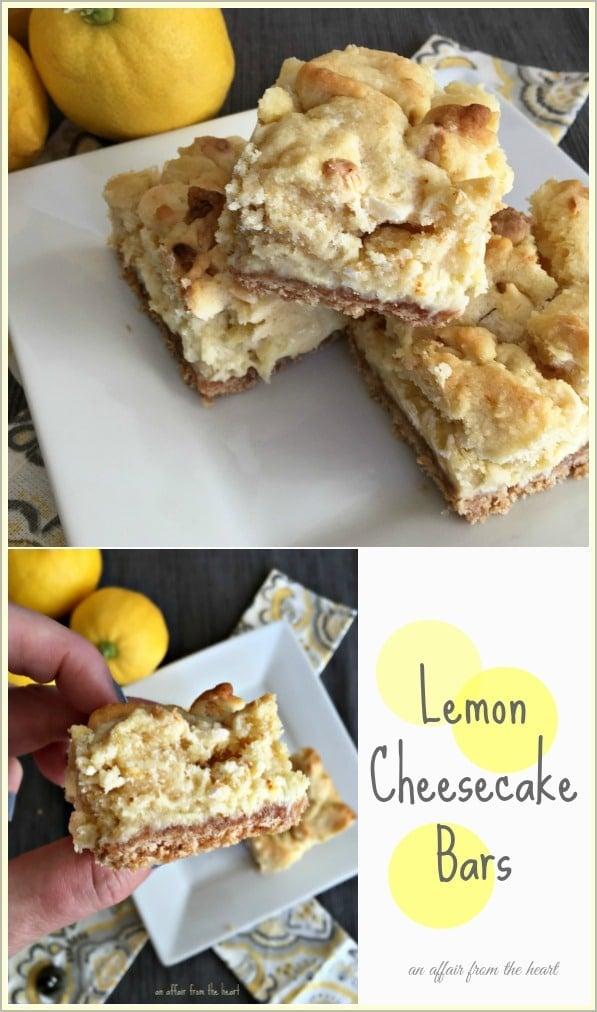 Lemon Cheesecake Bars - An Affair from the Heart
