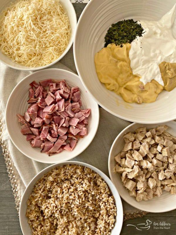 Chicken & Rice Cordon Bleu Casserole prep