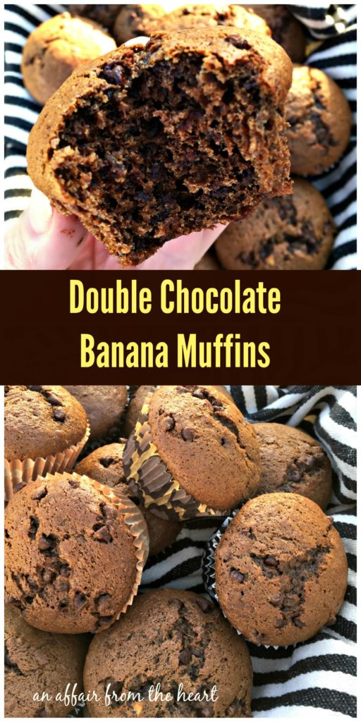 Double Chocolate Banana Muffins - An Affair from the Heart